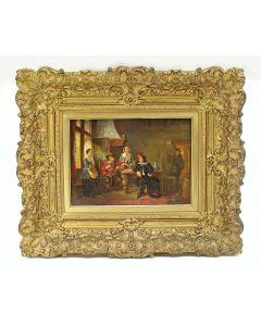 T.g.a. J.A.B. Stroebel, gezelschap in 17e-eeuws interieur, paneel, 19e eeuw