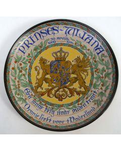 Herdenkingsschotel, Prinses Juliana 25 jaar, 1934, Plateelfabriek Schoonhoven