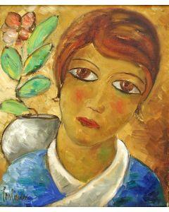 Cris Agterberg, Meisjeskop (in de stijl van Kees van Dongen), 1940