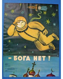 Antireligieuze propagandaposter 'Er is geen god', USSR, 1975