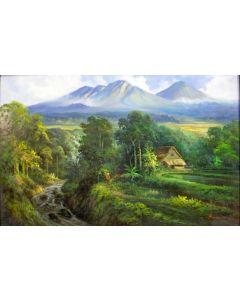 Indonesische School, landschap met vulkaan