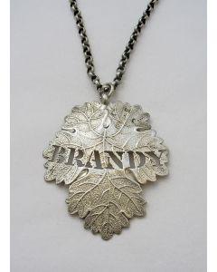 Zilveren karaflabel / drankschildje, 'Brandy', 1845.