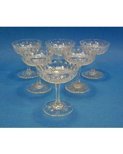 6 kristallen champagnecoupes, ca. 1900