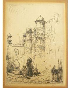 Marius Bauer, 'Olifanten bij een stadswal, India', ets, ca. 1895