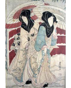 Japanse houtsnede door Utagawa Toyokuni I, dames met paraplus in de sneeuw, ca. 1820