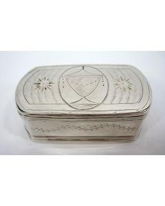 Gegraveerde zilveren snuifdoos, Bastiaan Blommendaal, Schoonhoven 1804