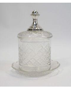 Kristallen marmeladepot met zilveren knop