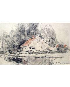 Cornelis Vreedenburgh, Boerderij aan het water, krijttekening