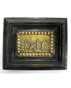 Kleine bronzen plaquette in lijst, 18e eeuw