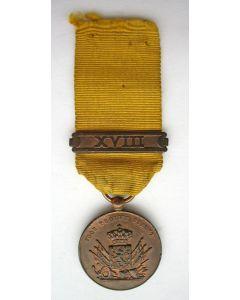 Medaille voor Langdurige Trouwe Dienst in brons, miniatuur met gesp XVIII