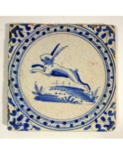 Tegel, springende haas, 17e eeuw