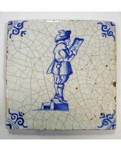 Figuurtegel, aanzegger, 17e eeuw