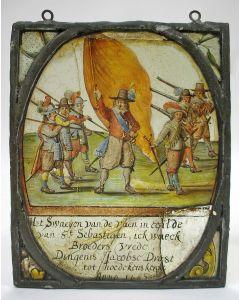Gebrandschilderd glas, gilde Sint Sebastiaen, Hoedekenskerke 1663