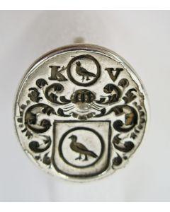 Zilveren signet met een familiewapen, Haarlem 1785