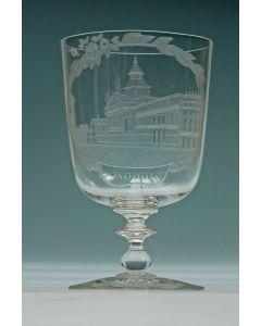 Gegraveerd glas, het stadhuis van Rotterdam, 19e eeuw