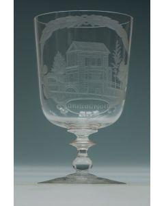 Gegraveerd glas, Delftse Poort, Rotterdam, 19e eeuw